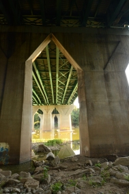 A cathedral of concrete supports the Washington, D.C., Beltway over Potomac directly upstream from Plummer's Island.