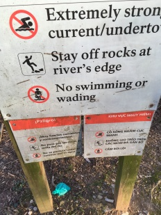 Don't let your poop bag get too close to the river.